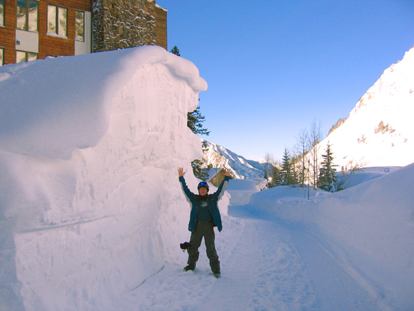 Dane, standing in front of a giant snow drift in Alta, Utah, 2006
