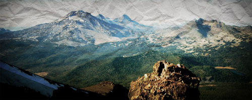 South Sister, Middle Sister, North Sister and Broken Top, seen from the summit of Mount Bachelor
