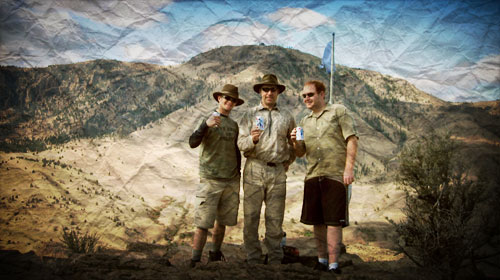 Dane, Jim and Morgan, enjoying Pabst Blue Ribbon at Ed's Flag near the Deschutes River, October 2004
